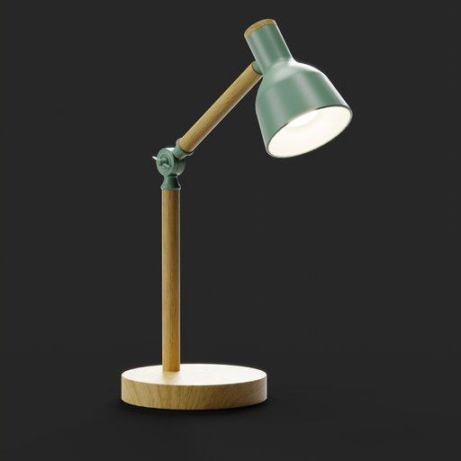 Thumbnail: Study Table Lamp Wood Arm