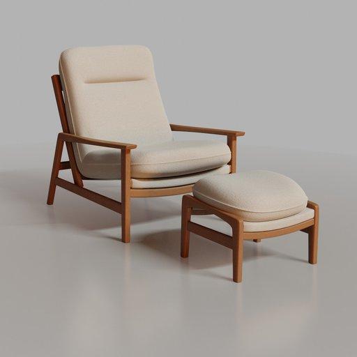 Marina armchair with ottoman