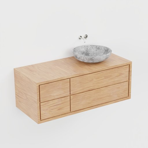 Modern wood and granit basin