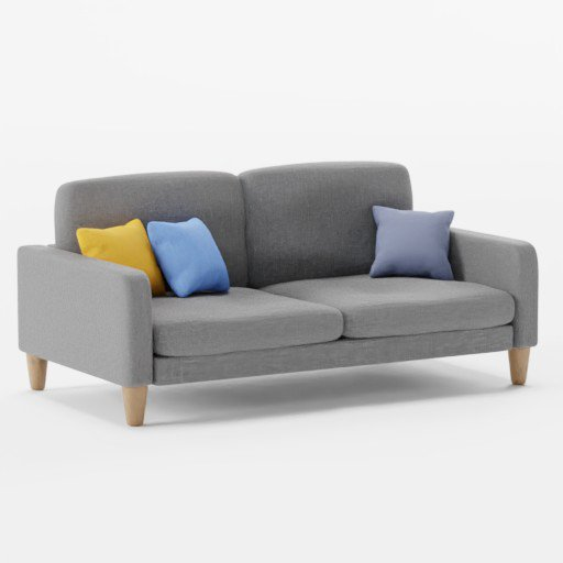 2 Seater Grey Sofa With Pillows