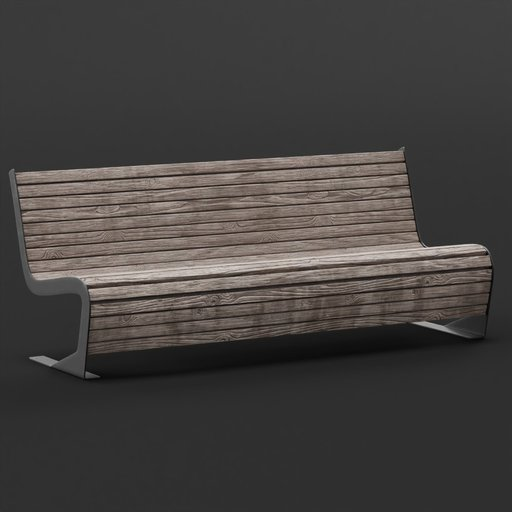 Old modern wooden bench
