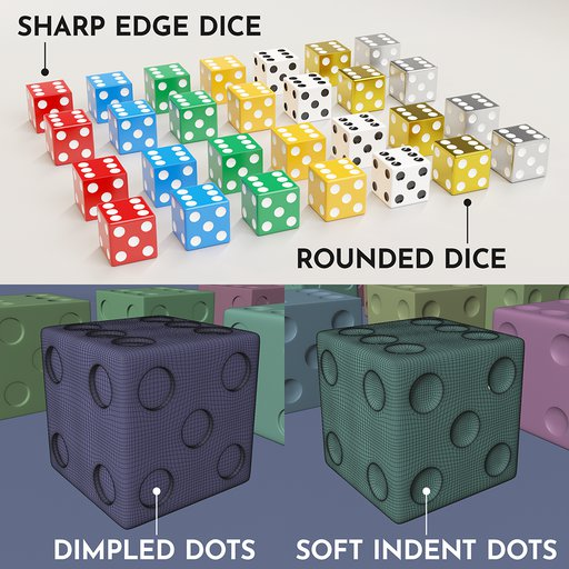 Thumbnail: A collection of 19mm dice in two styles and seven looks.