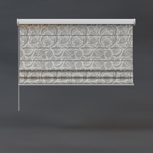 Roman blinds 02 half floral pattern