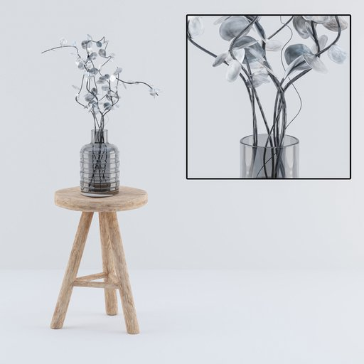 Thumbnail: Wooden stool with decoration vase and plant