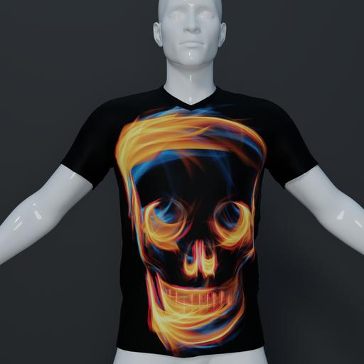 Thumbnail: Men's t shirt flaming skull.