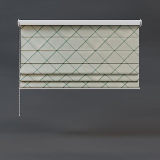 Roman blinds 02 half green checkered