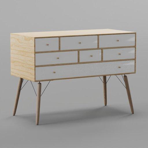 Thumbnail: Wood White Side Board Cabinet