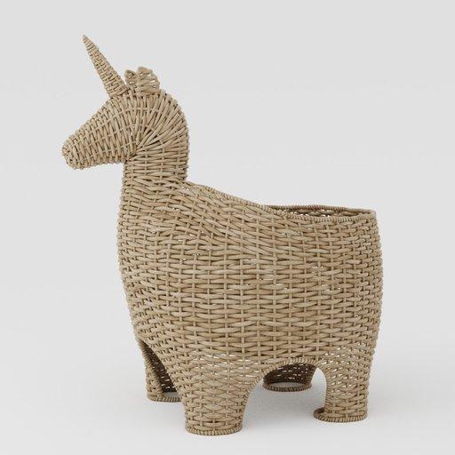Wicker basket unicorn