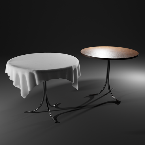 Thumbnail: Resturant/outside table with tablecloth (round)