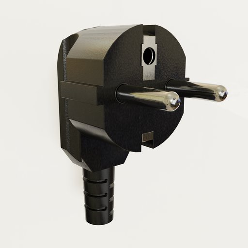Thumbnail: Angled 220 volt protective contact plug type CEE 7/7