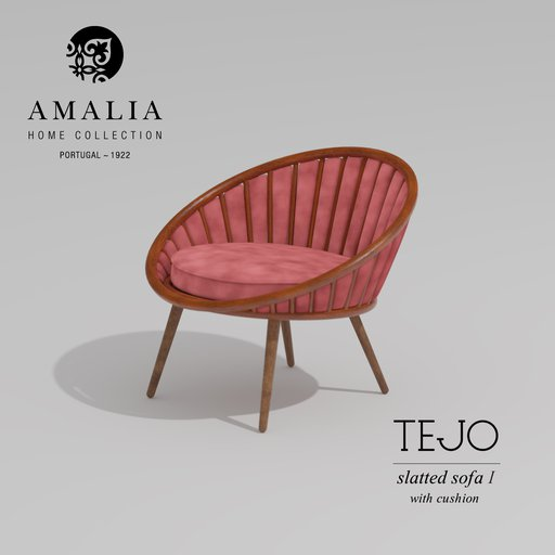 Thumbnail: AMALIA Slatted chair I with cushion