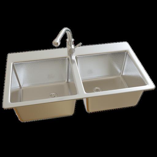 Sink Double 80cm w/ Faucet