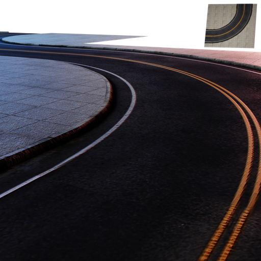 Thumbnail: Street Module 05 - Lowpoly - Curved street Large