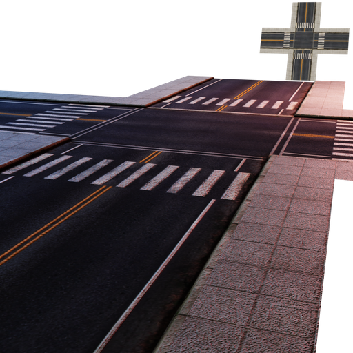 Thumbnail: Street Module 07 - Lowpoly - Intersection street Large