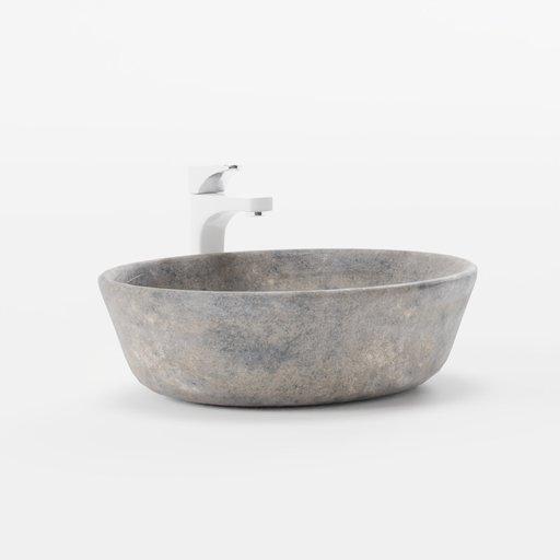 Thumbnail: Washbasin bowl stone with tall faucet