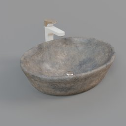 Thumbnail: Washbasin bowl stone with tall faucet
