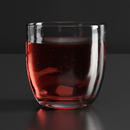Thumbnail: Drinking glass with red fluid an oxygen sparkles