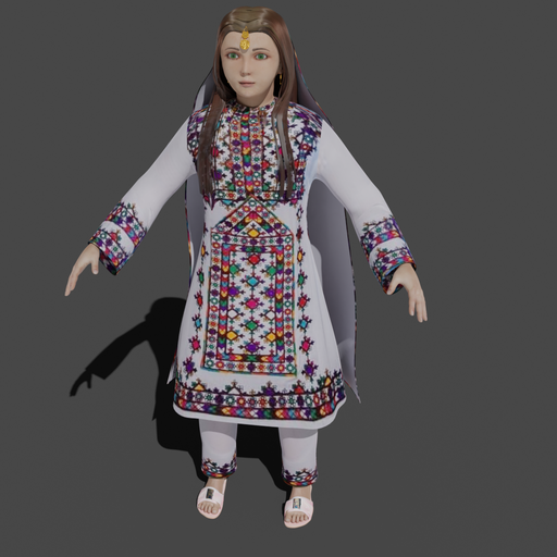 Thumbnail: Rigged - Arabic female child traditional outfit