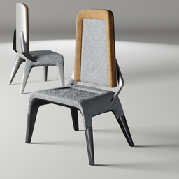 Thumbnail: Fabric and metal chair 1