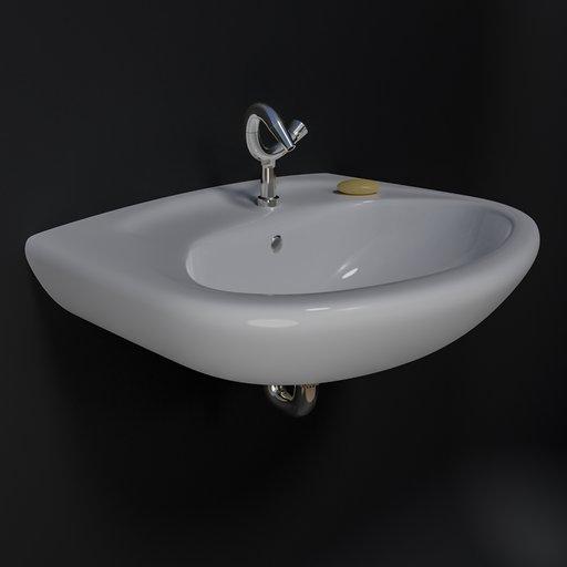 Oval washbasin white.