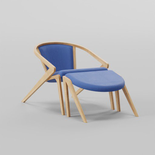 Thumbnail: Solid Wood Lounge Chair With Armrests 60x85x60