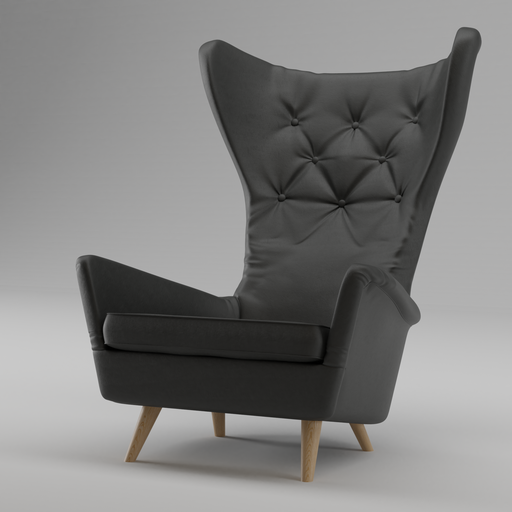 Thumbnail: Black Leather Wing Lounge Chair 1950s