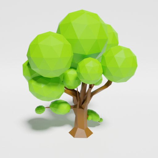 Thumbnail: Low Poly Oak Tree Singlecolor