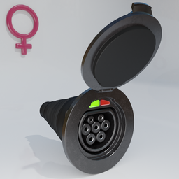 Thumbnail: Electric vehicle charging socket, female with cover.