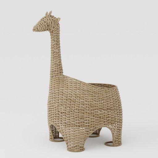 Wicker basket giraffe