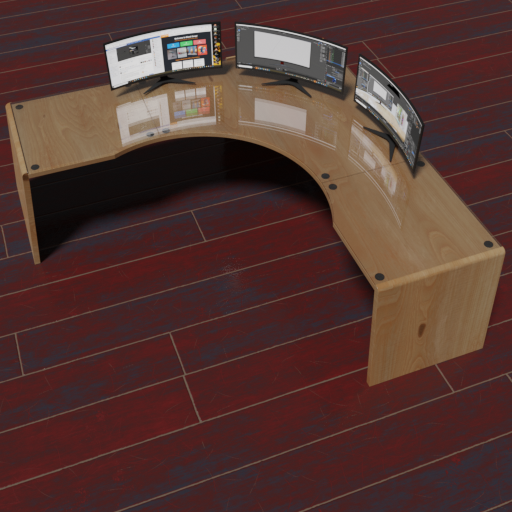 Creators desk with 3 curved monitors and sockets.