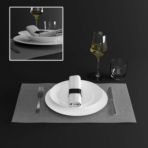 Thumbnail: Tableware set with plates, glasses and cutlery