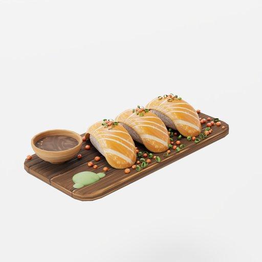 Stylized Salmon Nigiri Sushi