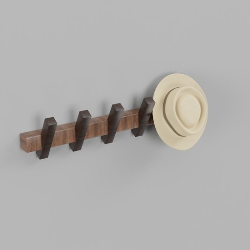 Thumbnail: Wooden Wall Coat Hanger With Hat