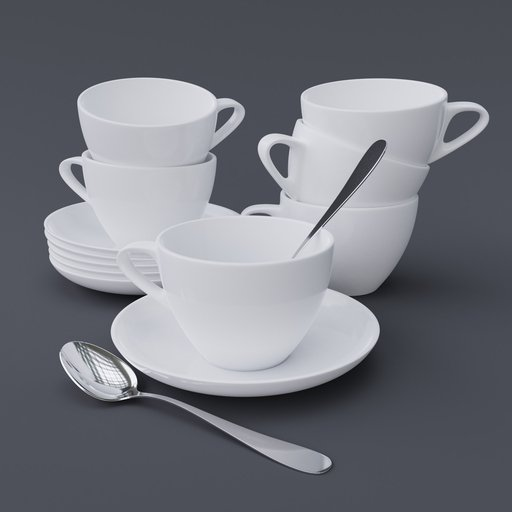 Thumbnail: Cup & Saucer Set Large White 1
