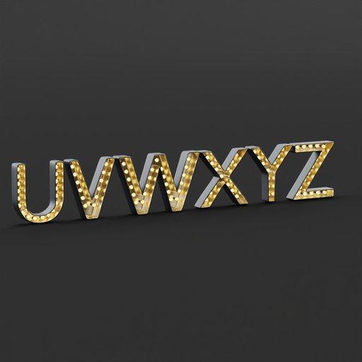Marquee Alphabet Light Box UVWXYZ