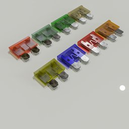 Thumbnail: Motor vehicle fuses in 8 colors.