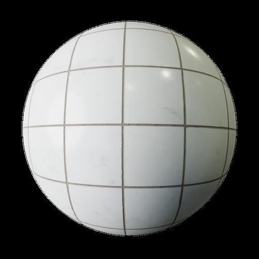 Thumbnail: White Tiles Marble PBR Texture Seamless