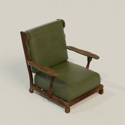 Thumbnail: Vintage Wood+Leather Green Armchair