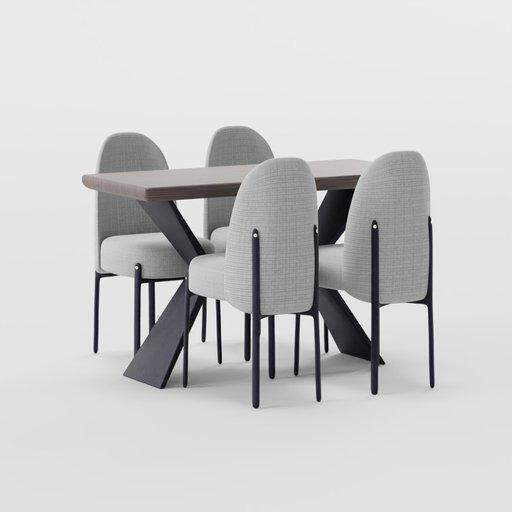 Minimalist Dining Table Grey Chair