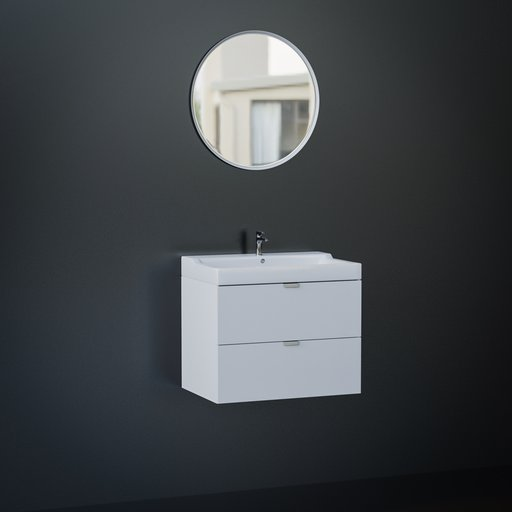Bathroom closet with sink and mirror