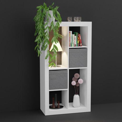 IKEA like shelf with decoration set (lamp, books , plants)