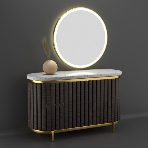 Thumbnail: Wood Marble Circular Console Table