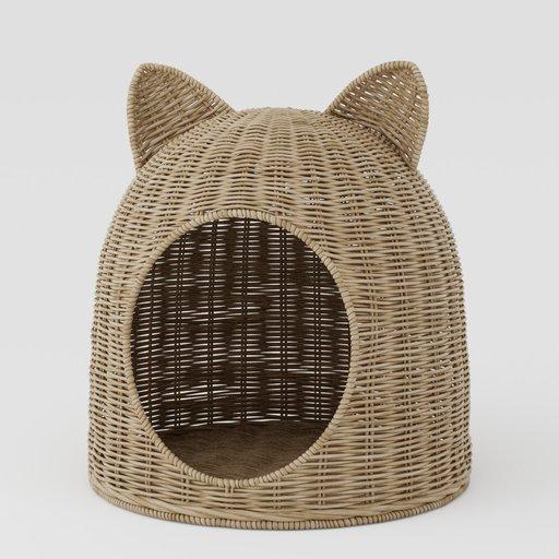 Cat house wicker basket