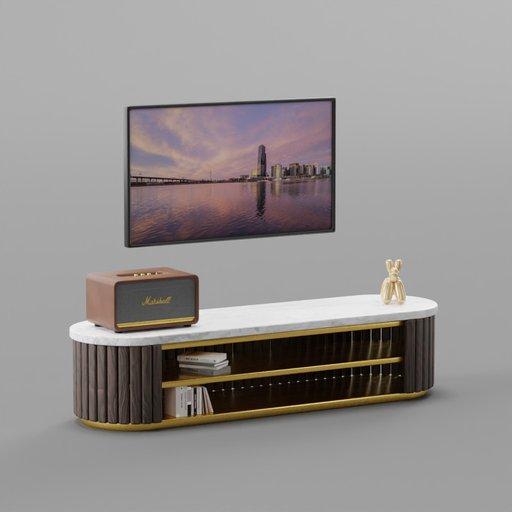 Brass Wooden Circular TV Cabinet Set