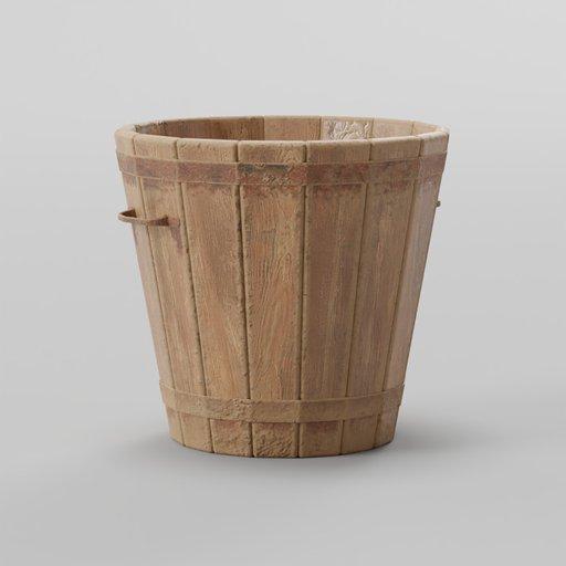 Thumbnail: Old Wooden Bucket 30x30x28