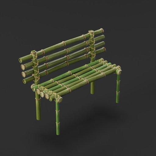 Garden bamboo bench