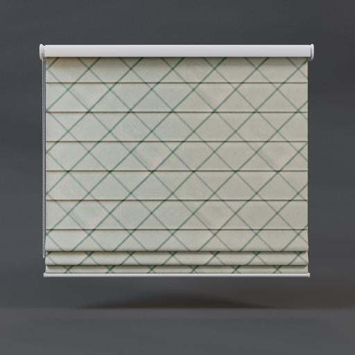 Roman blinds 01 full green checkered