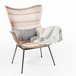 Thumbnail: Rattan Egg Wing Chair
