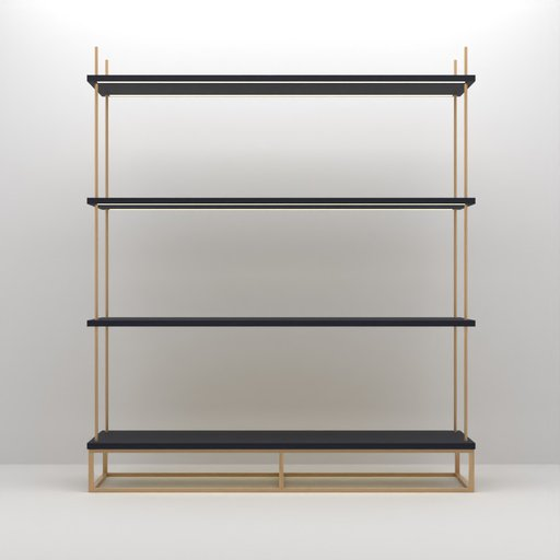 Thumbnail: Brass Rod Navy Shelf with LED