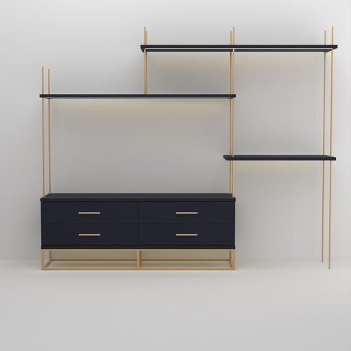Thumbnail: Brass Rod Blue TV Cabinet with LED